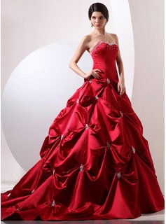 Ball-Gown Sweetheart Chapel Train Satin Quinceanera Dress With Ruffle Beading (021020697)