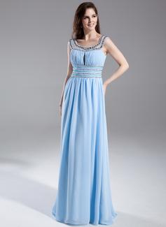 A-Line/Princess Scoop Neck Floor-Length Chiffon Prom Dress With Ruffle Beading