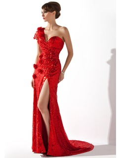 Sheath One-Shoulder Court Train Sequined Evening Dress With Ruffle Flower(s) (017006702)