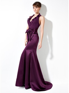 Mermaid Halter Sweep Train Chiffon Satin Bridesmaid Dress With Ruffle