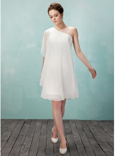 Sheath One-Shoulder Knee-Length Chiffon Homecoming Dress (022009157)