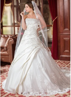 A-Line/Princess Strapless Court Train Satin Tulle Wedding Dress With Ruffle Lace Beadwork (002000616)