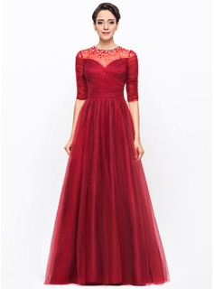 A-Line/Princess Scoop Neck Floor-Length Tulle Evening Dress With Ruffle Beading Sequins