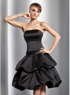 A-Line/Princess Strapless Knee-Length Satin Homecoming Dress With Ruffle (022014780)