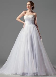 Corte de baile Escote corazón Tren de la corte Organdí Satén Vestido de novia con Volantes Encaje