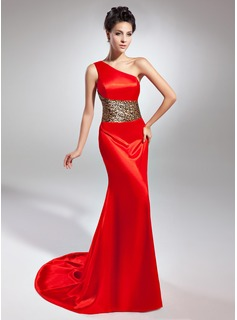 Trumpet/Mermaid One-Shoulder Sweep/Brush Train Charmeuse Evening Dress