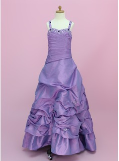 A-Line/Princess Sweetheart Floor-Length Taffeta Flower Girl Dress With Ruffle Beading (010002150)