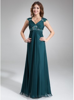 A-Line/Princess V-neck Floor-Length Chiffon Charmeuse Mother of the Bride Dress With Ruffle Lace Beading