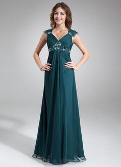 Vestidos princesa/ Formato A Decote V Longos De chiffon Charmeuse Vestido para a mãe da noiva com Pregueado Renda Bordado