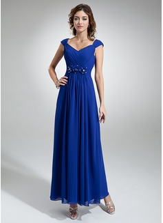 A-Line/Princess V-neck Ankle-Length Chiffon Evening Dress With Ruffle Beading Flower(s)