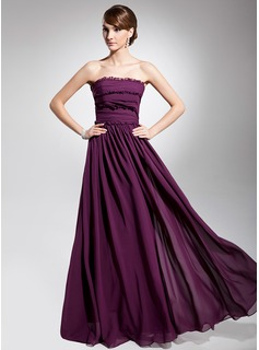 A-Line/Princess Strapless Floor-Length Chiffon Evening Dress With Ruffle