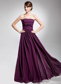 A-Line/Princess Strapless Floor-Length Chiffon Evening Dress With Ruffle