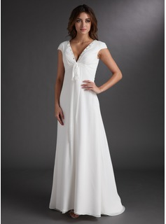 A-Line/Princess V-neck Sweep Train Chiffon Wedding Dress With Ruffle Beadwork (002011619)