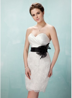 Sheath Sweetheart Short/Mini Taffeta Organza Cocktail Dress With Ruffle Sash Flower(s) (016008406)