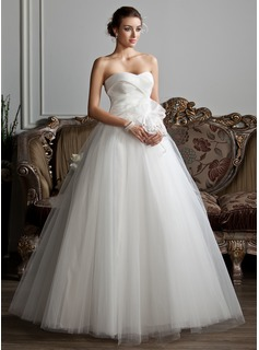 Ball-Gown Sweetheart Floor-Length Satin Tulle Wedding Dress With Ruffle Beadwork Flower(s) (002013802)