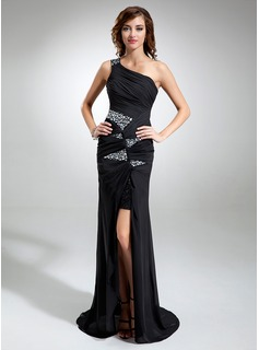 Sheath One-Shoulder Sweep Train Chiffon Sequined Prom Dress With Ruffle Beading