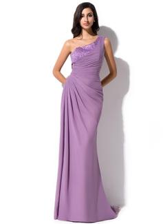 Sheath/Column One-Shoulder Sweep Train Chiffon Evening Dress With Ruffle Beading Sequins