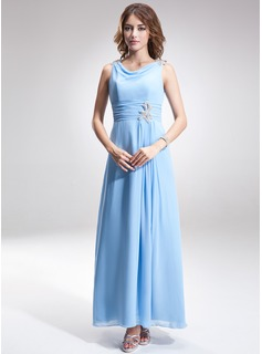 A-Line/Princess Cowl Neck Ankle-Length Chiffon Mother of the Bride Dress With Ruffle Beading