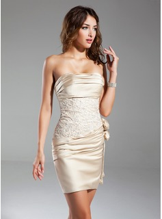 Sheath Strapless Short/Mini Satin Cocktail Dress With Embroidered Ruffle Flower(s) (016015329)