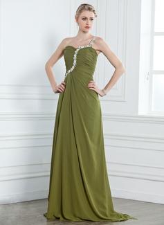 A-Line/Princess One-Shoulder Watteau Train Chiffon Evening Dress With Ruffle Beading Appliques Lace