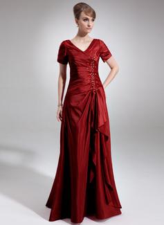 A-Line/Princess V-neck Floor-Length Taffeta Mother of the Bride Dress With Beading Sequins Cascading Ruffles