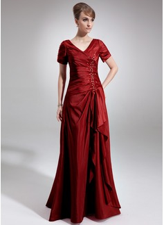 A-formet/Prinsesse V-hals Gulvlengde Taft Kjole til brudens mor med Perlebesydd Paljetter Brusende Volanger