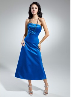 A-Line/Princess Strapless Tea-Length Satin Bridesmaid Dress With Bow(s)