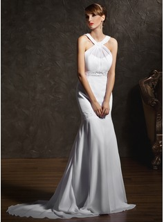 Mermaid Scoop Neck Court Train Chiffon Wedding Dress With Ruffle Beadwork (002011618)