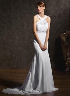 Trumpet/Mermaid Scoop Neck Court Train Chiffon Wedding Dress With Ruffle Beading