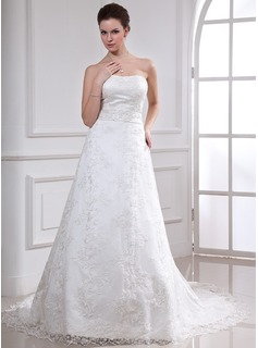 A-Line/Princess Sweetheart Chapel Train Satin Lace Wedding Dress With Beadwork