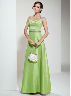 A-Line/Princess Halter Floor-Length Taffeta Bridesmaid Dress With Ruffle Sash
