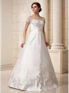 A-Line/Princess Square Neckline Floor-Length Satin Tulle Wedding Dress With Embroidery Ruffle Beadwork Sequins (002012175)