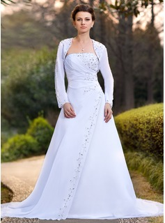 A-Line/Princess Strapless Chapel Train Chiffon Wedding Dress With Ruffle Beadwork Sequins (002000391)