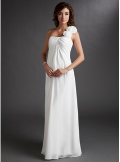 Empire One-Shoulder Floor-Length Chiffon Maternity Bridesmaid Dress With Ruffle Flower(s) (045022471)