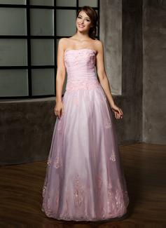 Vestidos princesa/ Formato A Sem Alças Longos Organza de Vestido quinceanera com Pregueado Bordado Apliques de Renda