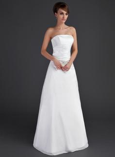 Corte A/Princesa Estrapless Hasta el suelo Tafetán Vestido de novia con Volantes Bordado