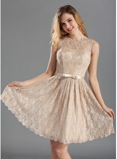 A-Line/Princess Scoop Neck Knee-Length Charmeuse Lace Bridesmaid Dress