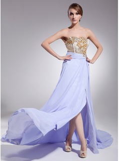 A-Line/Princess Sweetheart Court Train Chiffon Sequined Evening Dress With Ruffle Beading Split Front