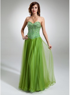 A-Line/Princess Sweetheart Floor-Length Satin Tulle Prom Dress With Beading (018016346)