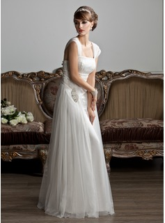 A-Line/Princess Square Neckline Floor-Length Tulle Wedding Dress With Ruffle Beadwork (002011588)