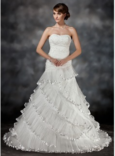Ball-Gown Sweetheart Court Train Organza Charmeuse Wedding Dress With Lace Beading Cascading Ruffles Pleated
