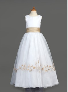 A-Line/Princess Scoop Neck Floor-Length Organza Satin Flower Girl Dress With Embroidered Ruffle Sash (010007401)