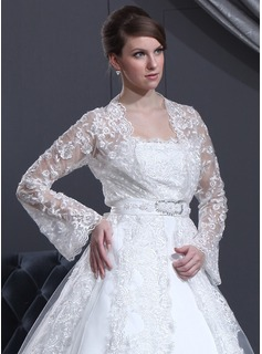 Jackets/Wraps Wedding Lace Wraps With Long Sleeve (013022588)