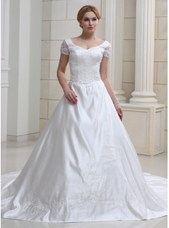 Ball-Gown Sweetheart Chapel Train Organza Satin Wedding Dress With Embroidery Beadwork (002011993)