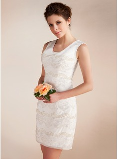 Sheath/Column Scoop Neck Short/Mini Chiffon Wedding Dress With Lace Beadwork (002012815)