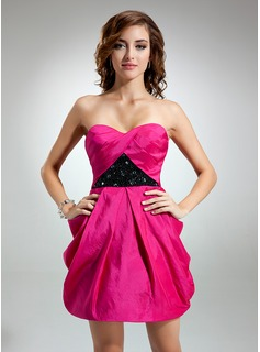 A-Line/Princess Sweetheart Short/Mini Taffeta Cocktail Dress With Ruffle Beading (016016347)