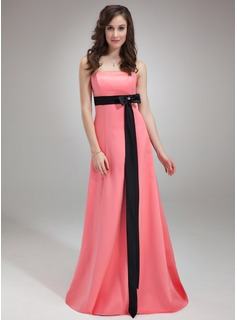 Empire Strapless Sweep Train Satin Bridesmaid Dress With Sash Beading (007001482)