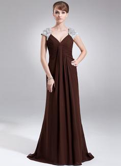 Vestidos princesa/ Formato A Decote V Sweep/Brush trem De chiffon Vestido para a mãe da noiva com Pregueado Renda Bordado