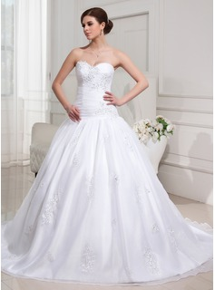 Ball-Gown Sweetheart Court Train Organza Satin Wedding Dress With Ruffle Lace Beadwork Sequins (002012152)
