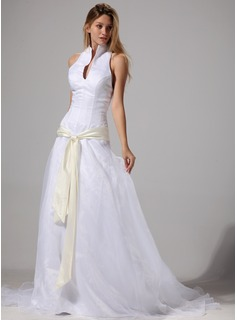 A-Line/Princess Halter Court Train Organza Satin Wedding Dress With Sashes